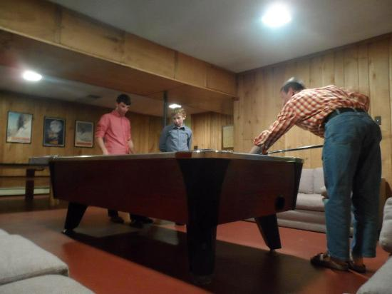 timber house ski lodge game room
