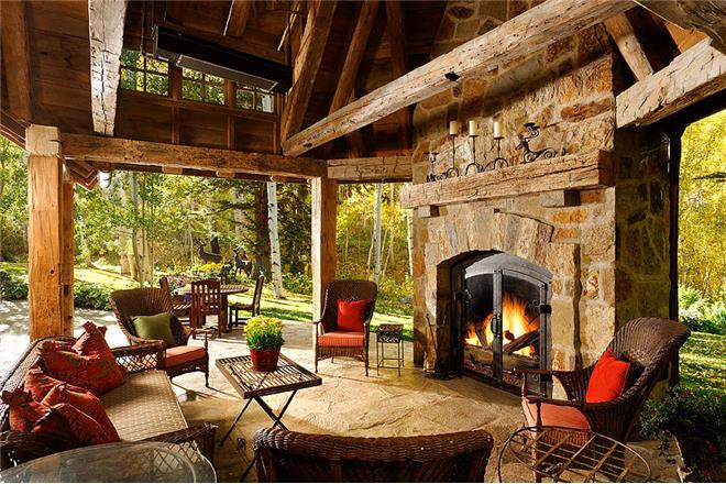 blue spruce manor outdoor fireplace
