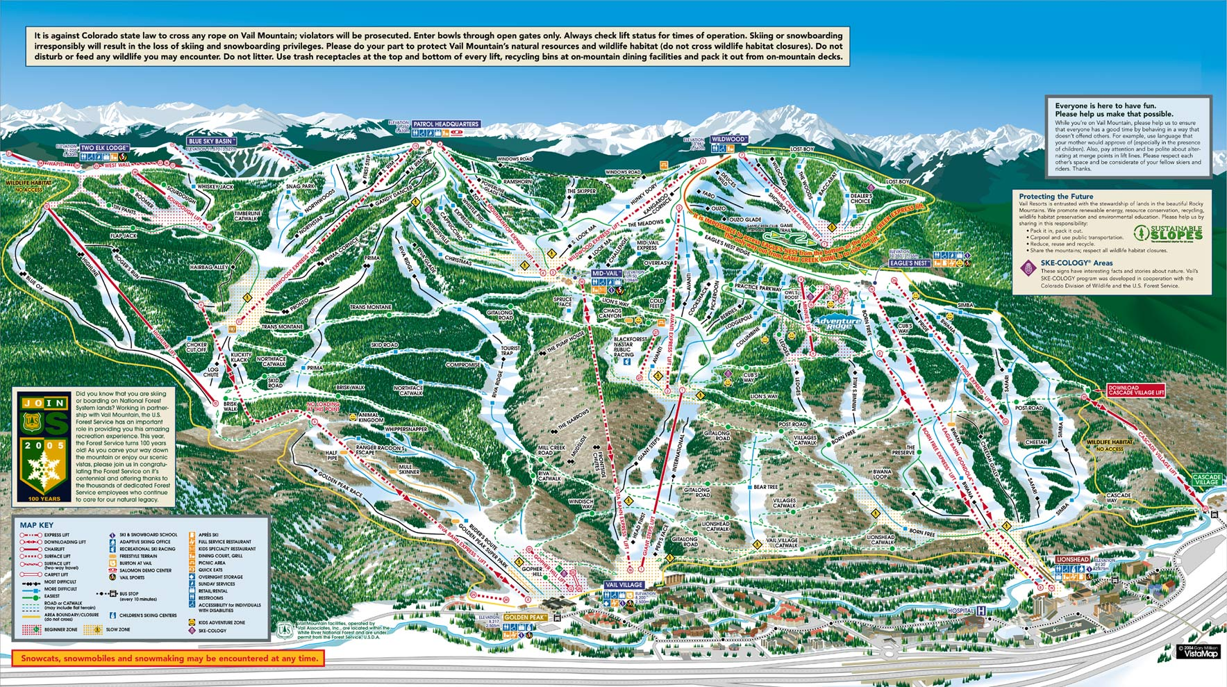Vail Trail Map. It\'s a Big Place. Don\'t Get Lost.